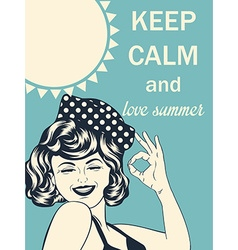 Retro style with message keep calm and love summer vector