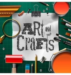 Art and crafts template with artist tools vector image