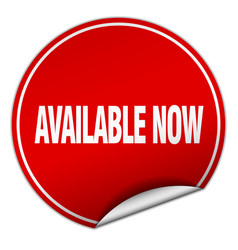 Available now round red sticker isolated on white vector