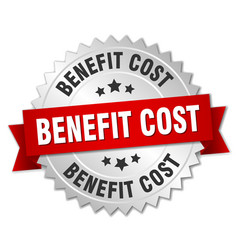 Benefit cost round isolated silver badge vector