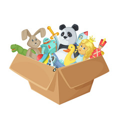 Children toys in cardboard box funny vector