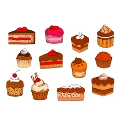 Chocolate fruit pastries and desserts sketches vector image