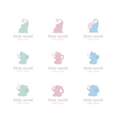 cute little elephants logo set vector image