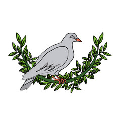 dove with olive branch peace emblem vector image vector image