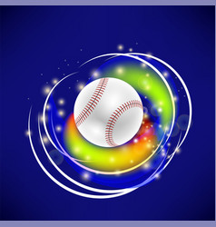 Flying baseball ball with yellow sparkles vector