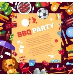Invitation template of flat design barbecue vector