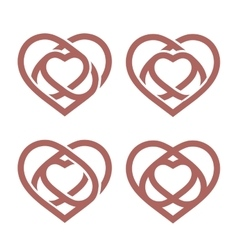 Isolated abstract monoline heart logo set love vector