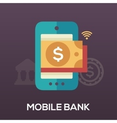 Mobile Bank flat design single icon vector image vector image