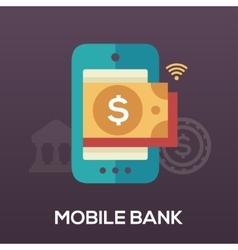 Mobile bank flat design single icon vector