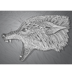 Patterned head of the wolf Tribal ethnic totem vector image