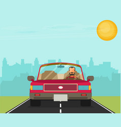 picture of car on the road with city silhouette vector image vector image