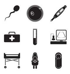 Pregnantcy flat icon set isolated on white vector