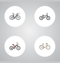realistic competition bicycle old adolescent and vector image vector image