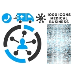 Relations Diagram Icon with 1000 Medical Business vector image