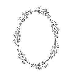 Rustic circle branches with leaves and flowers vector