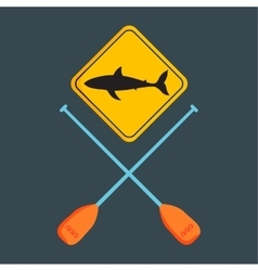 shark silhouette board and paddle vector image