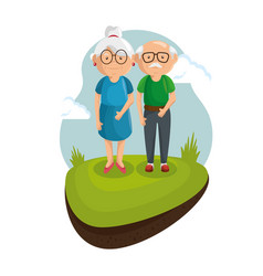 Standing old couple design vector