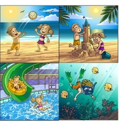 Summer fun on beach children are playing on vector