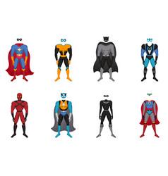 superhero costumes set vector image vector image