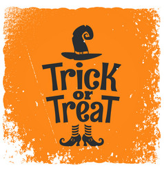 trick or treat halloween witch lettering vector image vector image