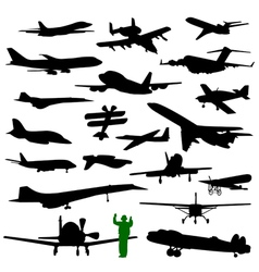 Twenty silhouette of airplane vector image vector image