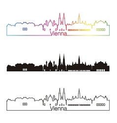Vienna skyline linear style with rainbow vector image vector image