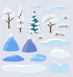 Winter set of trees mountains and hills seasonal vector