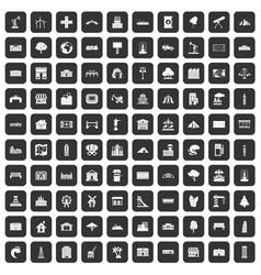 100 landscape element icons set black vector