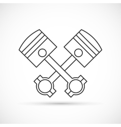 Crossed engine pistons outline icon vector