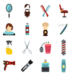 Hairdressing set flat icons vector