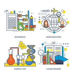 mathematics world education chemical program vector image