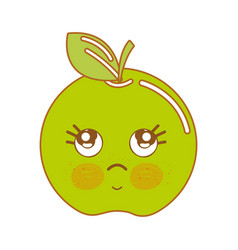 kawaii cute thinking apple fruit vector image