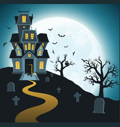 Halloween background with tombs trees vector