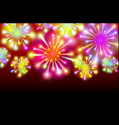 Brightly colorful fireworks on twilight background vector