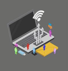 Isometric people using internet around vector
