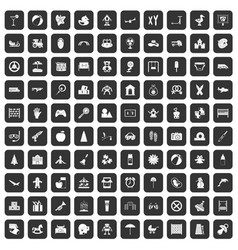 100 childhood icons set black vector