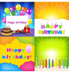 Happy birthday card set vector