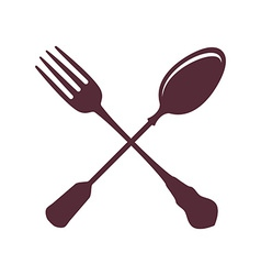Crossed spoon with fork isolated on white vector