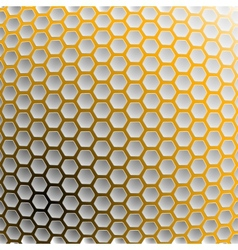 Background of hexagons with a yellow light vector