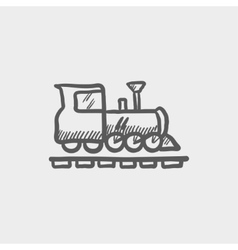 Railroad train sketch icon vector