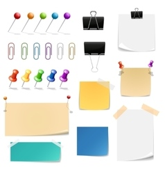 Paper clips binders pins and note papers vector