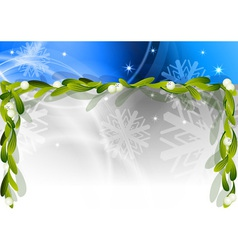 Blue christmas background with mistletoe vector