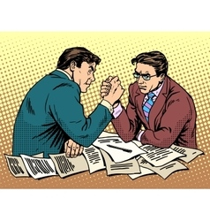 Arm wrestling business competition vector