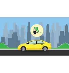Biofuel green with leaf with car on the way vector