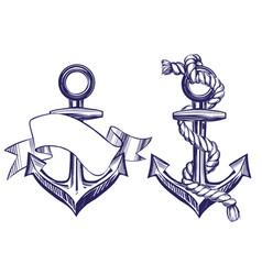 Anchor sign set symbol hand drawn vector