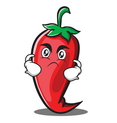 Angry red chili character cartoon vector