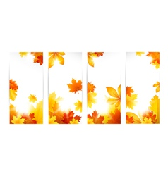 Autumn banners with leaves vector