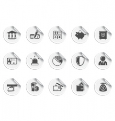 bank icons sticky series vector image