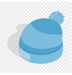 blue knitted hat isometric icon vector image vector image
