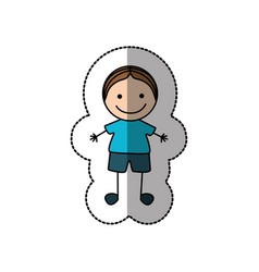 boy happy with brown hair icon vector image vector image